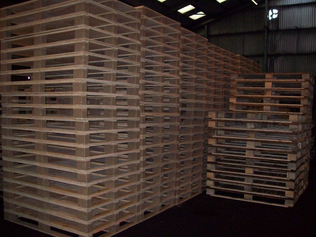 Wooden pallets stored in Barnes & Woodhouse warehouse